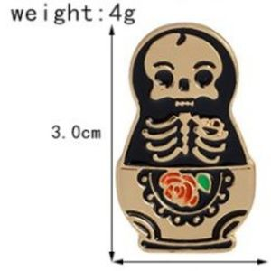 5/$24 Skeleton with Rose Pin Brooch